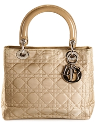 Christian Dior Vintage Small 'Lady Dior' Tote Nude And Neutrals