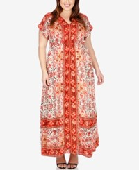 Lucky Brand Plus Size Short Sleeve Printed Maxi Dress Orange