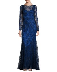 Kay J's By Kay Unger Metallic Lace Overlay Long Sleeve Gown Cerulean