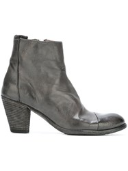 Officine Creative Crease Effect Ankle Boots Grey