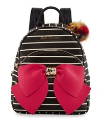 Betsey Johnson Bow Striped Faux Leather Backpack Black Stri