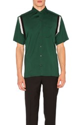 Lanvin Open Collar Short Sleeve Shirt In Green