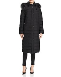 Basler Fur Trimmed Long Down Coat Black