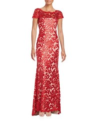 Calvin Klein Sequined Mesh Overlay Gown Red