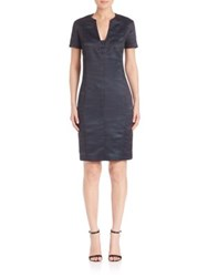 Piazza Sempione Two Tonal Sheath Dress Dark Blue