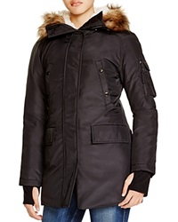 Aqua Artic Faux Fur Trim Parka Black