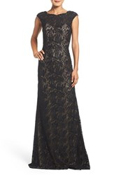 La Femme Women's Backless Beaded Lace Gown