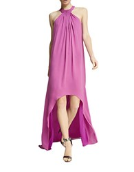 Halston Pleated High Low Dress Orchid