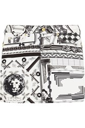Versus Anthony Vaccarello Printed Stretch Cotton Twill Mini Skirt White