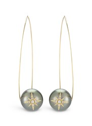 Mizuki 'Sea Of Beauty' Diamond Star 14K Gold Wire Tahitian Pearl Drop Earrings Black Metallic