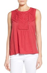 Women's Caslon Embroidered Lace Detail Cotton And Modal Tank Red Barberry