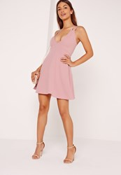 Missguided Double Strap Scuba Skater Dress Pink Mauve