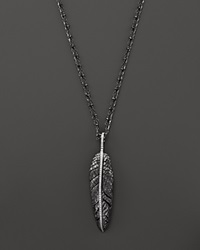Michael Aram Sterling Silver Feather Pendant With White Diamonds On Black Diamond Station Chain 28