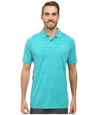 Nike Tiger Woods Vl Max Swing Knit Heather Rio Teal Midnight Navy Reflective Silver Men's Short Sleeve Pullover Blue