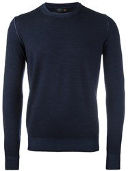 Corneliani Crew Neck Knitted Sweater Blue