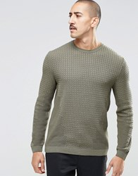 Asos Cable Knit Jumper With Rib Detail Sludge Green