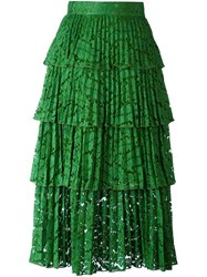 N 21 No21 Overlay Lace Pleated Skirt Green