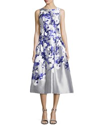 Kay Unger New York Satin Floral Tea Length Cocktail Dress Gray Blue Women's