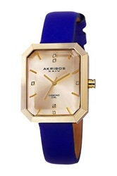 Akribos Xxiv Women's Quartz Genuine Diamond Strap Watch Blue