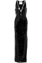 Moschino Sequined Tulle Gown Black