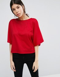 Vero Moda Cropped Shirt With V Insert Poppy Red