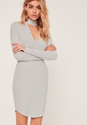 Missguided Stripe Plunge Choker Bodycon Dress White