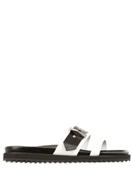 Alexander Mcqueen 20Mm Two Tone Leather Slide Sandals Black White