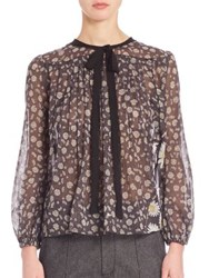 Marc Jacobs Sheer Floral Peasant Blouse Black Multi
