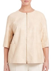 Lafayette 148 New York Plus Size Cropped Lambskin Jacket Candlelight