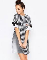 The Whitepepper Bow Sleeves T Shirt Mini Dress Black Gingham Multi