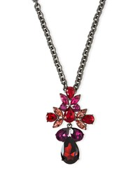 Oscar De La Renta Bold Teardrop Crystal Brooch Pendant Necklace Black