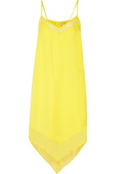 Mason By Michelle Mason Chiffon Trimmed Neon Washed Silk Dress Yellow