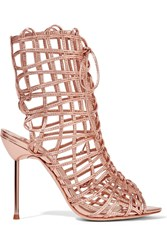 Sophia Webster Delphine Metallic Leather Sandals Metallic Pink