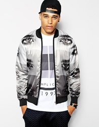 Blood Brother Bomber Jacket With All Over Eye Print Grey