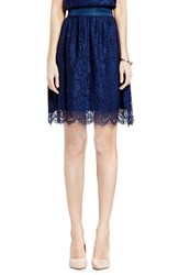 Vince Camuto Women's Scallop Lace Full A Line Skirt Naval Navy