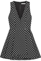Alice Olivia Tanner Polka Dot Stretch Jacquard Mini Dress Black Cream