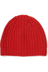 Rag And Bone Alexis Textured Knit Cashmere Beanie Tomato Red