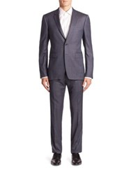 Burberry Stirling Two Button Wool Suit Steel Blue