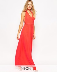 Asos Cross Over Halter Maxi Fuchsia