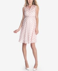 Seraphine Maternity Belted Plaid Dress Pink Print