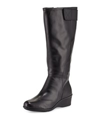 Taryn Rose Aiden Leather Demi Wedge Knee Boot Black