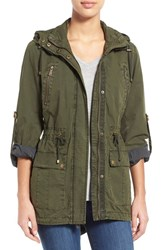 Women's Levi's Parachute Hooded Cotton Utility Jacket Army Green