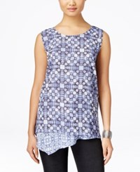 Styleandco. Style And Co. Layered Sleeveless Top Only At Macy's Ink Dyed Tile