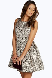 Boohoo Floral Foil Skater Dress Gold