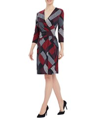 Ellen Tracy Knit Twist Dress Red