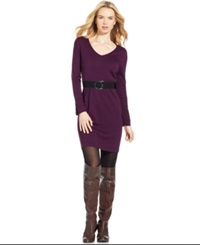 Ny Collection Long Sleeve Belted Sweater Dress Purple
