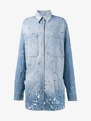 Faith Connexion Oversized Distressed Denim Shirt Blue Denim White