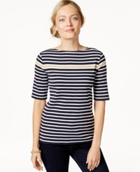 Charter Club Striped Short Sleeve Top Only At Macy's Navy