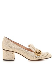 Gucci Marmont Fringed Leather Loafers Gold