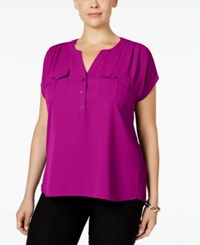 Inc International Concepts Plus Size Mixed Media Utility Shirt Only At Macy's Magenta Flame